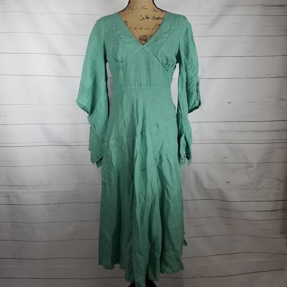 80d8d05a62 120% Lino Dresses   Skirts - Minty Sage Green Italian Bohemian Linen Dress